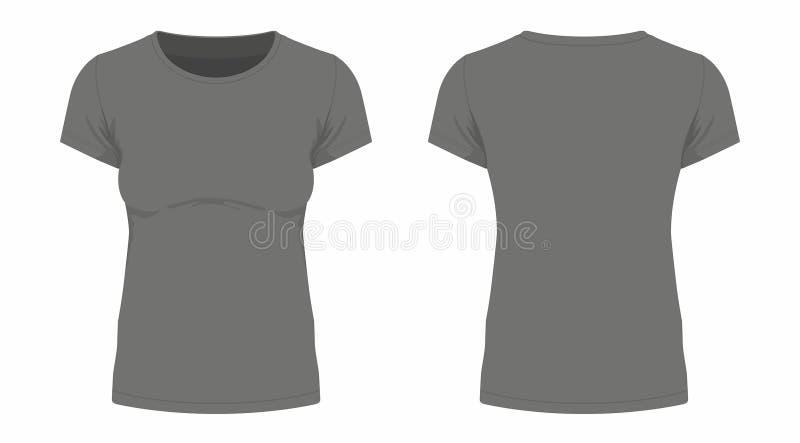 T-shirt do preto do ` s das mulheres ilustração do vetor