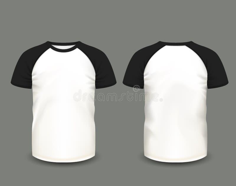 T-shirt do raglan dos homens na parte dianteira e em vistas traseiras Molde do vetor Malha feito a mão inteiramente editável ilustração royalty free