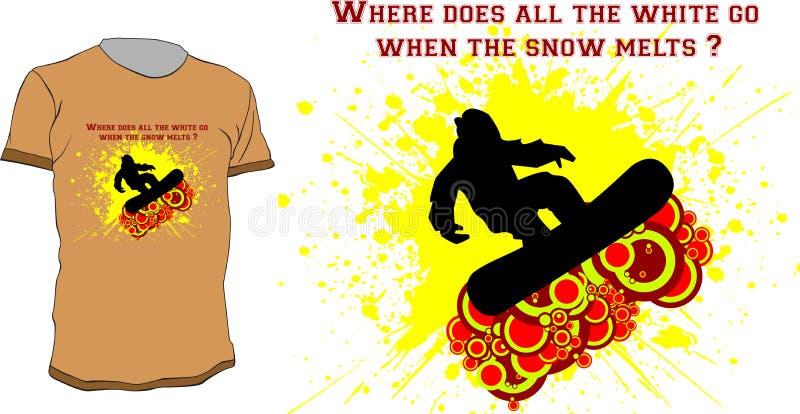 T-shirt do Snowboarder ilustração royalty free