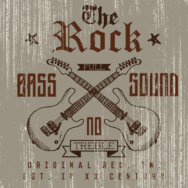 T-Shirt Druckdesign, Typografiegraphiken, die volle solide Vektorbass-illustration des Rocks mit Grunge kreuzte die gezeichnete G lizenzfreie abbildung