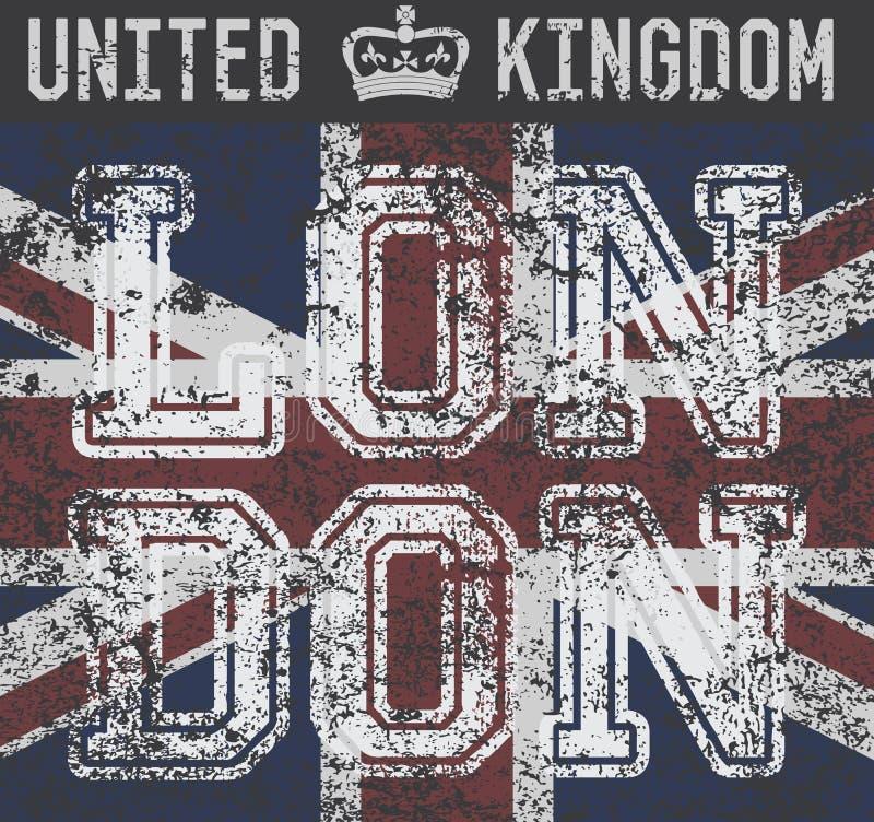 T-Shirt Druckdesign, Typografiegraphiken, London Vereinigtes Königreich, Schmutzflaggenvektorillustration Ausweis-Applikations-Au lizenzfreie abbildung