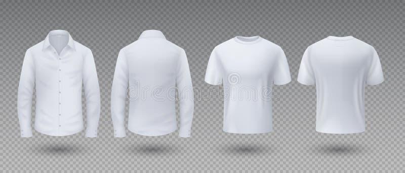 T-shirt e camisa realísticos Modelo branco roupa uniforme masculina isolada do molde, da placa 3D, a parte dianteira e vista tras ilustração royalty free
