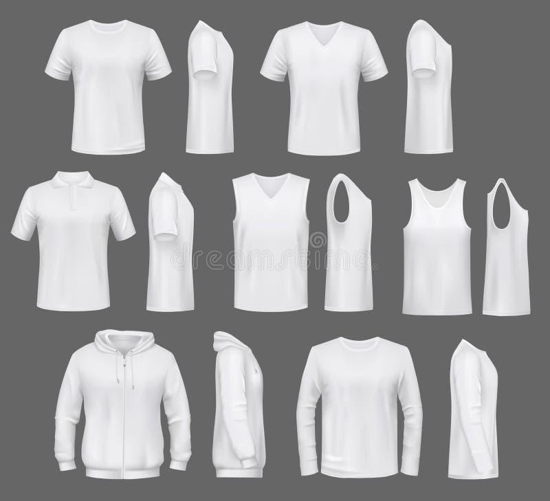 T-shirt e windcheater, hoodie do polo, roupa masculina ilustração do vetor