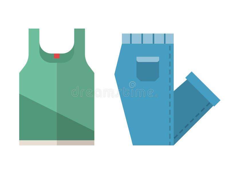T-shirt en Gevouwen Jeanspictogrammen vector illustratie