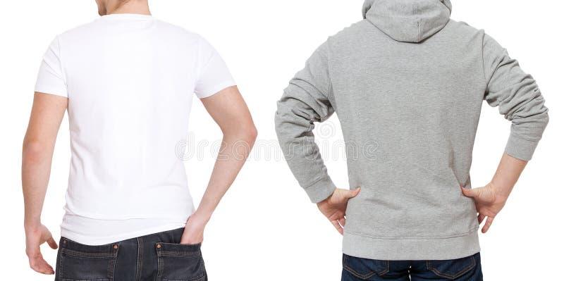 T-shirt en sweatshirtmalplaatje Mensen in witte t-shirt en in grijze hoody Achter achtermening Spot op witte achtergrond omhoog w stock foto