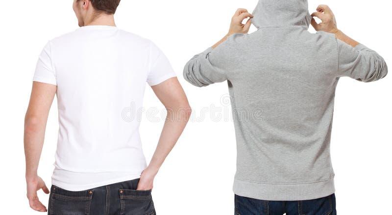 T-shirt en sweatshirtmalplaatje Mensen in witte t-shirt en in grijze hoody Achter achtermening Spot op witte achtergrond omhoog w royalty-vrije stock foto's
