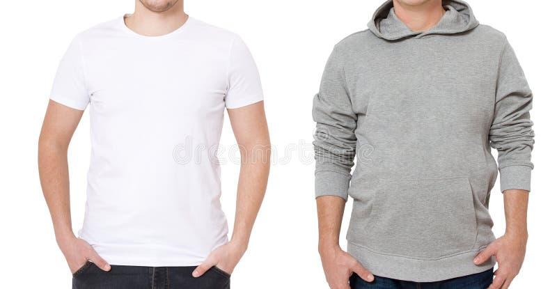 T-shirt en sweatshirtmalplaatje Mensen in witte t-shirt en in grijze hoody Front View Spot op witte achtergrond omhoog wordt geïs stock foto's