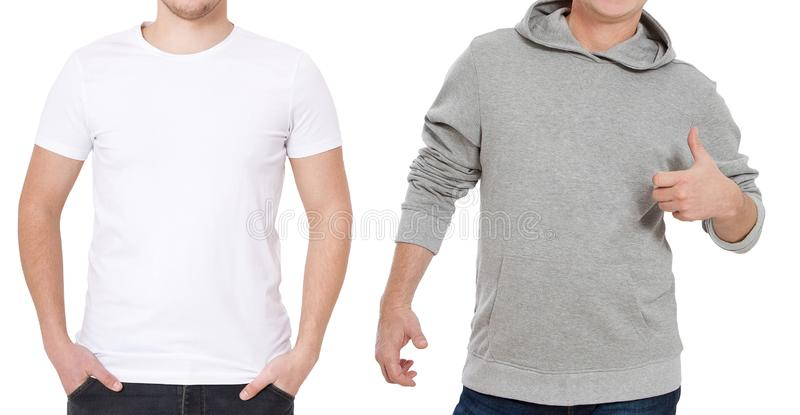 T-shirt en sweatshirtmalplaatje Mensen in witte t-shirt en in grijze hoody Front View Spot op witte achtergrond omhoog wordt geïs royalty-vrije stock foto's