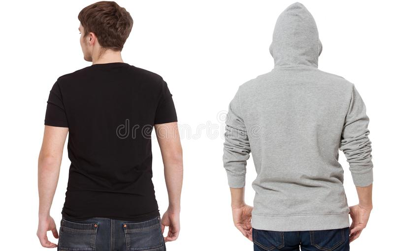 T-shirt en sweatshirtmalplaatje Mensen in zwarte t-shirt en in grijze hoody Achter achtermening Spot op witte achtergrond omhoog  stock foto
