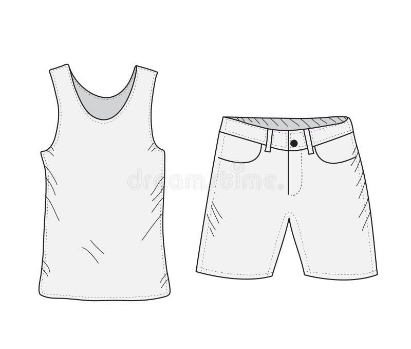 T-shirt en van de borrelsschets reeks Dingen in de stijl van handtekening De zomer kleedt toevallige stijl Mouwloos onderhemd en  vector illustratie