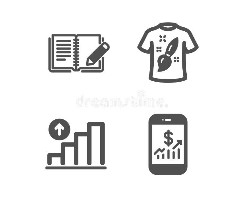 T-Shirt Entwurf, Feedback- und Diagrammdiagrammikonen Bewegliches Finanzzeichen Malerei, Buch mit Bleistift, Wachstumsbericht Vek lizenzfreie abbildung