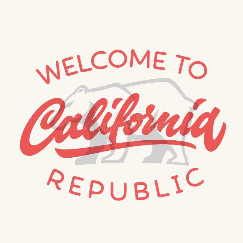 T-shirt escrito à mão caligráfico app da república de Califórnia do vintage ilustração royalty free