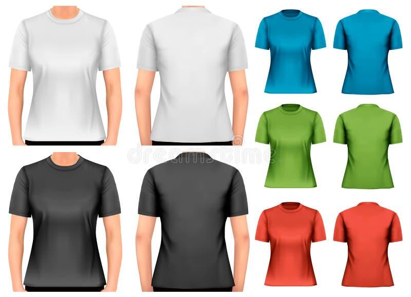 T-shirt fêmeas Molde do projeto ilustração royalty free