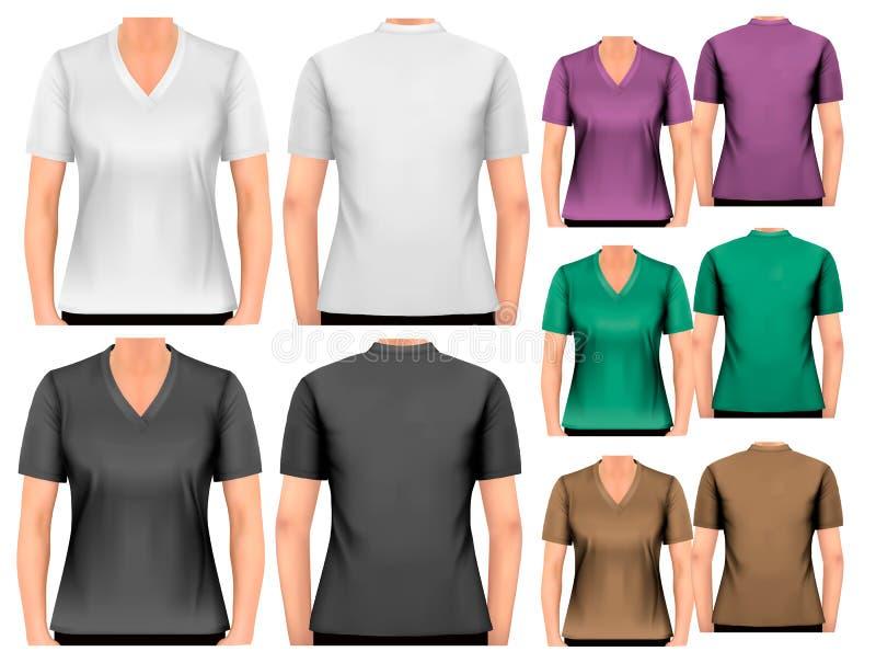 T-shirt fêmeas Molde do projeto ilustração stock