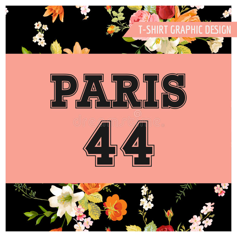 T-shirt Floral Paris Graphic with Lily and Orchid Flowers. Fall Nature Travel Background. In Vector stock illustration