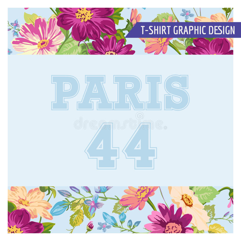 T-shirt Floral Shabby Chic Graphic Design. Floral Shabby Chic Graphic Design - for t-shirt, fashion, prints - in vector royalty free illustration