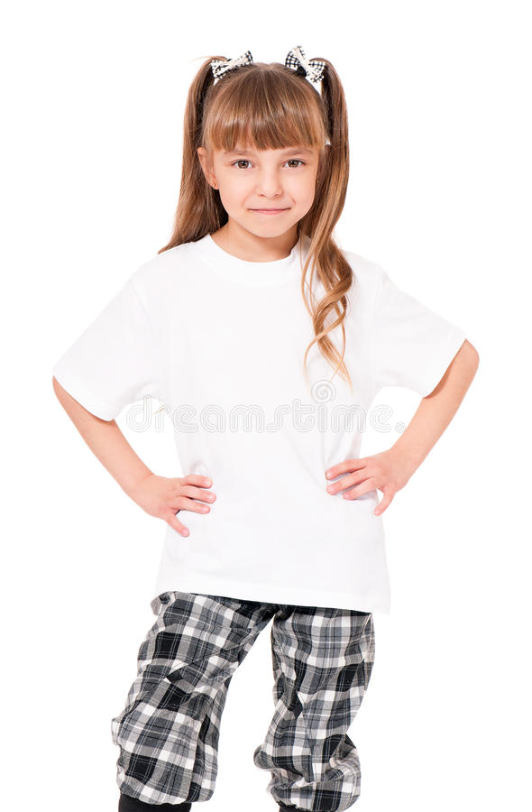 T-shirt on girl stock photos
