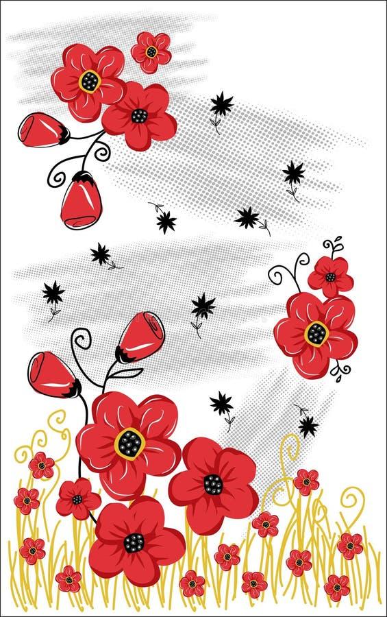 T-shirt grafisch ontwerp met rode bloemen op de witte achtergrond vector illustratie