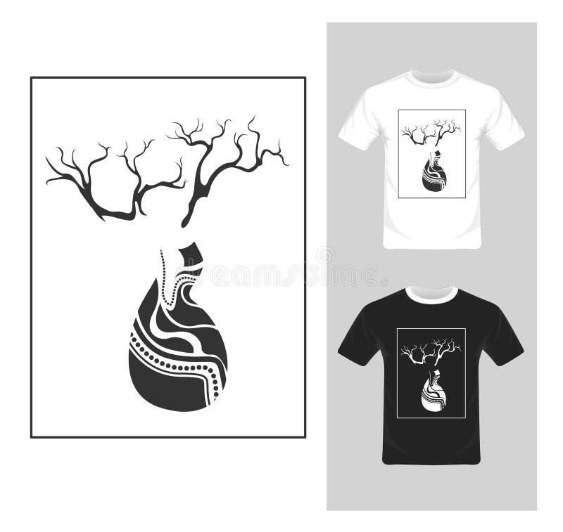 T-shirt Grafisch Ontwerp Zwart-witte boom - vector stock illustratie