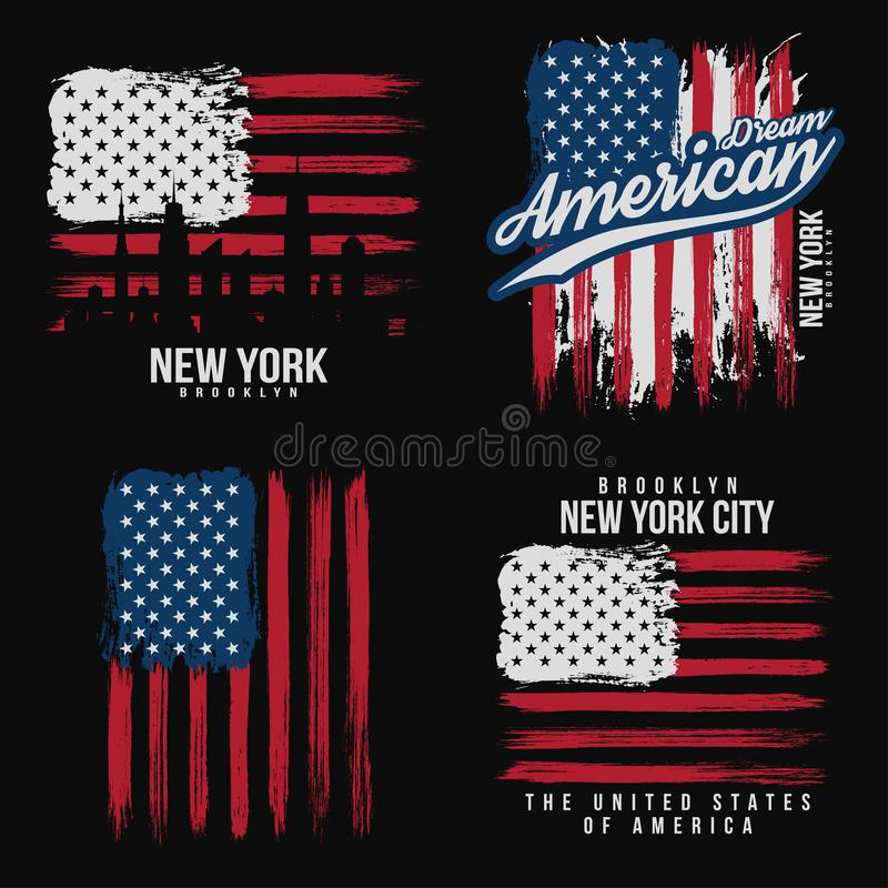 T-shirt graphic design with american flag and grunge texture. New York typography shirt design. Set of modern poster and t-shirt graphic design. Vector stock illustration