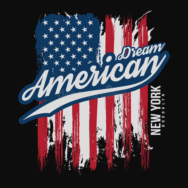 T-shirt graphic design with american flag and grunge texture. New York typography shirt design stock illustration