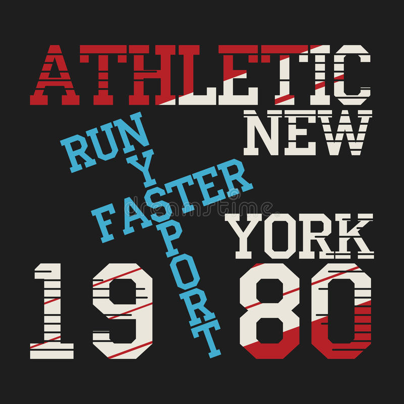 T-shirt graphics. Athletic sport running typography, t-shirt graphics, vectors vector illustration