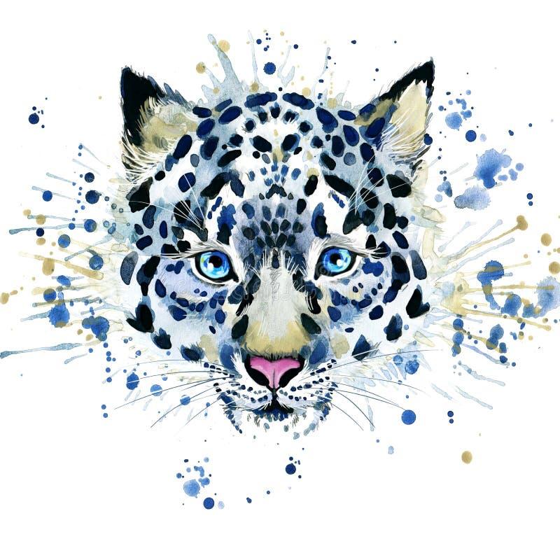 T-shirt graphics/cute snow leopard, illustration watercolor stock illustration