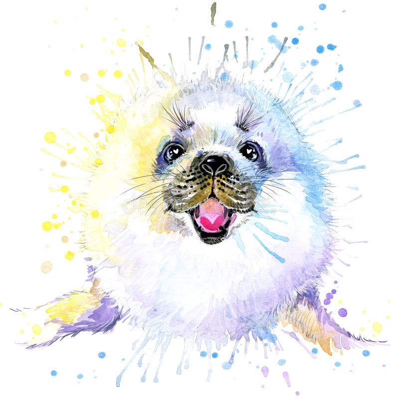 Free T-shirt Graphics/cute White Seal, Illustration Watercolor Royalty Free Stock Photo - 55133335