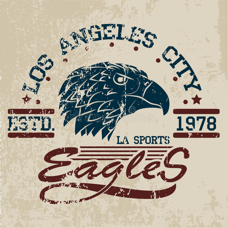 T-shirt graphics. Eagles athletic design, vintage ,university,sports graphics for t-shirt or other uses vector illustration