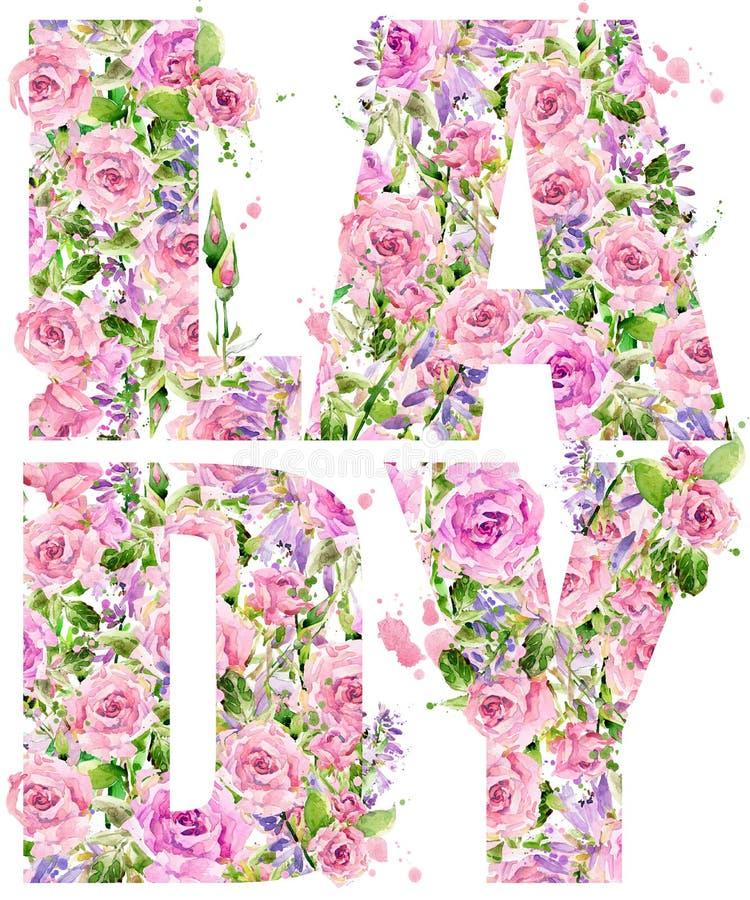 Download T-shirt Graphics. Lady. Rose Flower Watercolor Stock Illustration - Illustration of design, bunch: 69880791