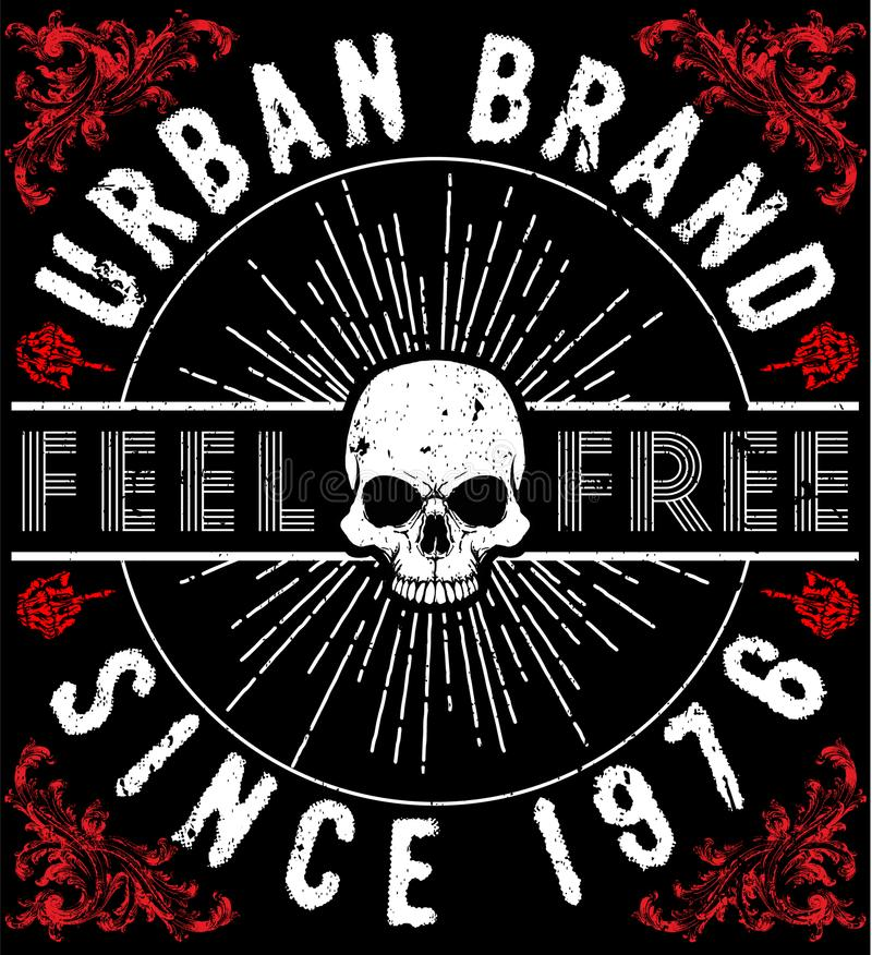 T-shirt Graphics, skull print, skull illustration, evil skull, c vector illustration