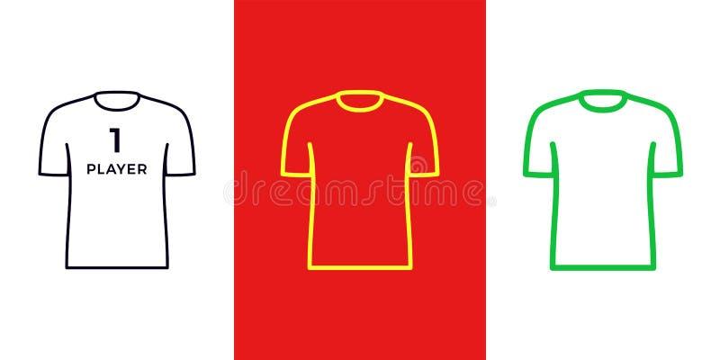 T-Shirt Ikone, Spieler oder Gamer Sporthemdsatz stock abbildung