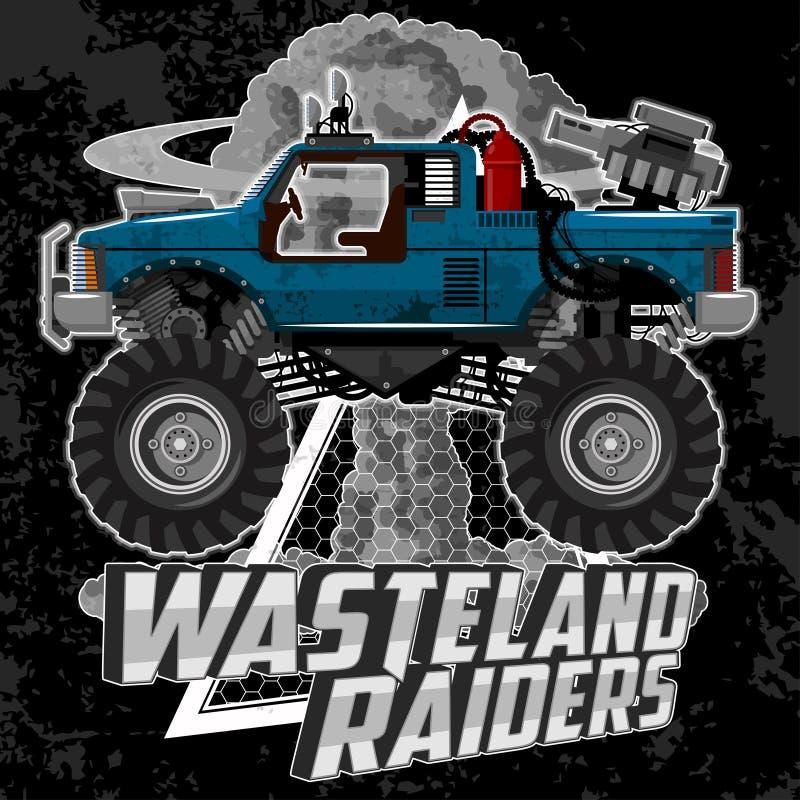 T-Shirt Illustration mit Monsterautos und Schmutzelementen vektor abbildung
