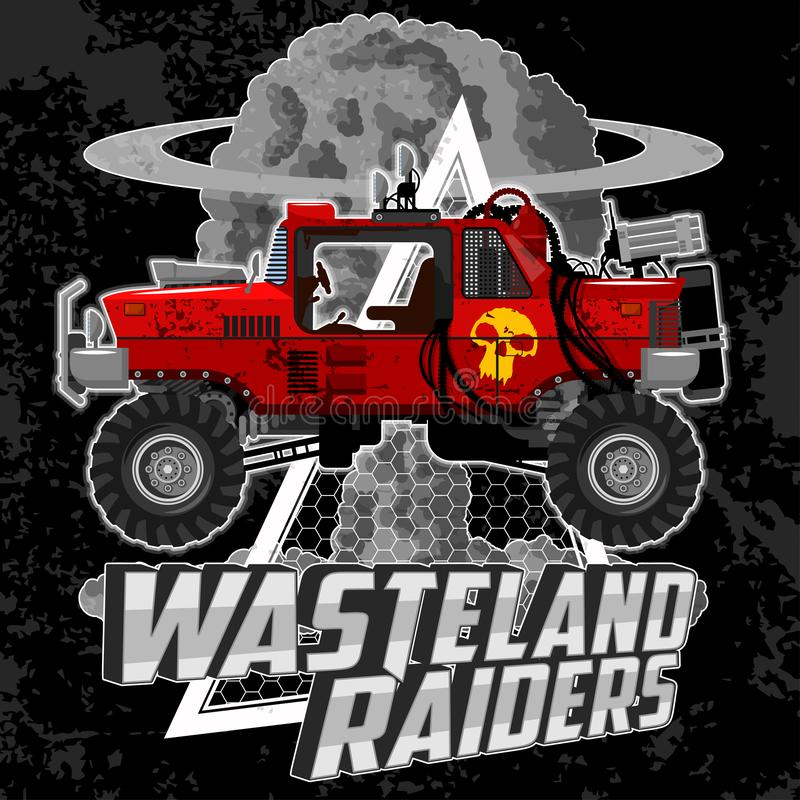 T-shirt illustration with monster cars and grunge elements. stock photo