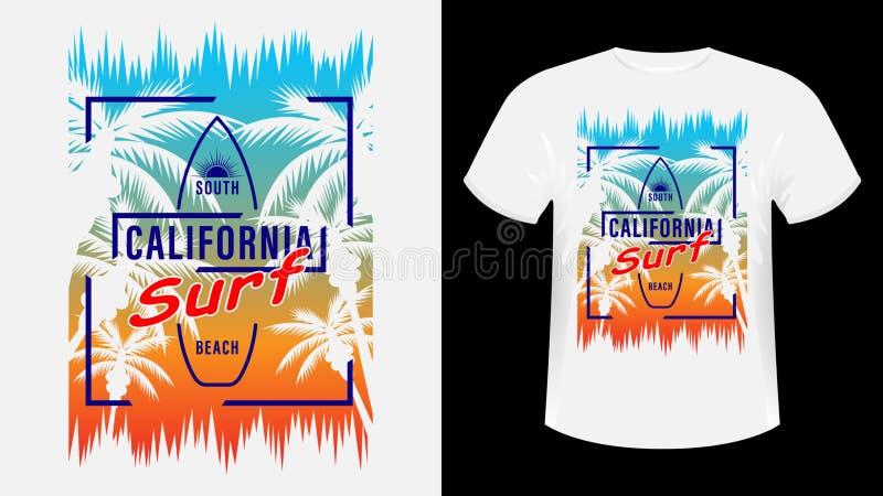 T-shirt imprimé California Surf illustration libre de droits