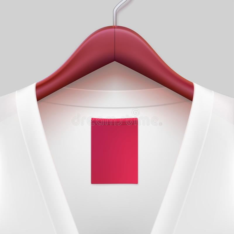 T-shirt with label hanging on a hanger. The template for your design or advertising messages vector illustration