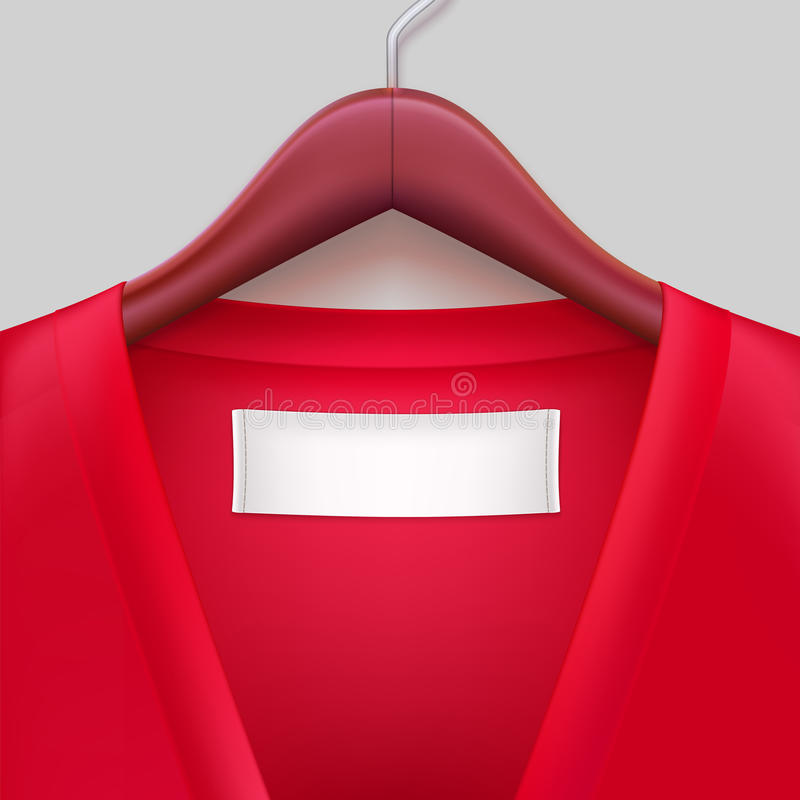 T-shirt with label hanging on a hanger stock illustration