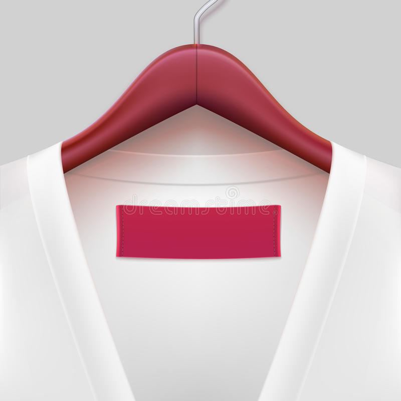 T-shirt with label hanging on a hanger. The template for your design or advertising messages stock illustration