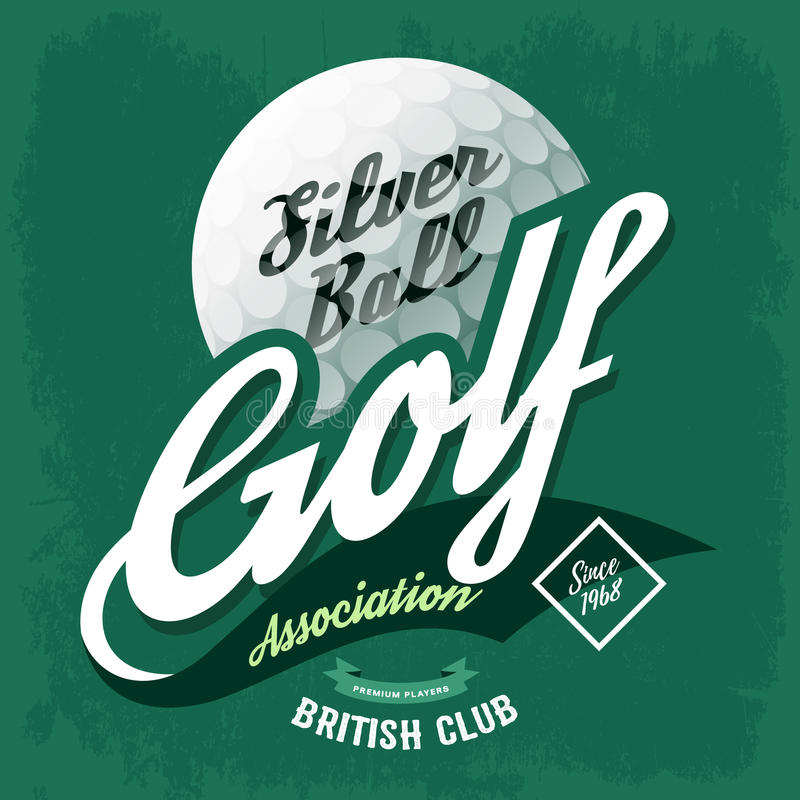 T-shirt label symbol made of golf ball stock illustration