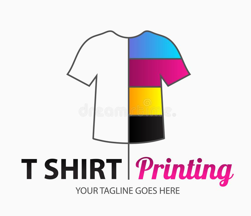 Abstract modern colored vector logo template of t-shirt printing. For typography, print, corporate identity, workshop, branding. stock illustration