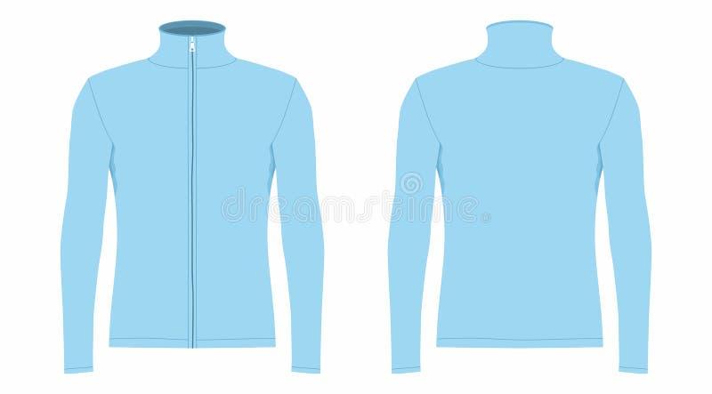 T-shirt longo azul da luva do ` s dos homens ilustração royalty free