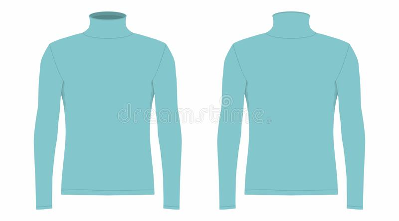 T-shirt longo azul da luva do ` s dos homens ilustração stock