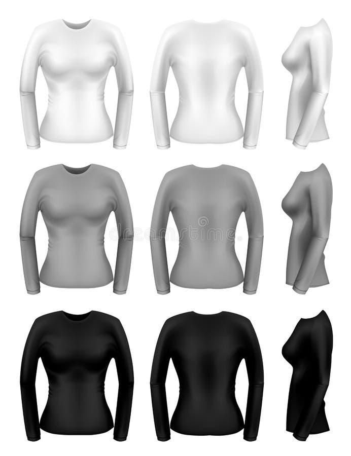 T-shirt longos da luva das mulheres ilustração do vetor