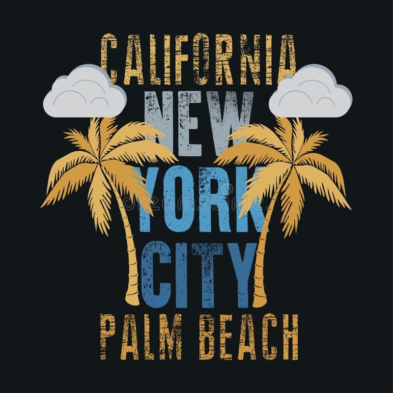 T-shirt Los Angeles Califórnia, desgaste do esporte, tipografia do esporte ilustração stock
