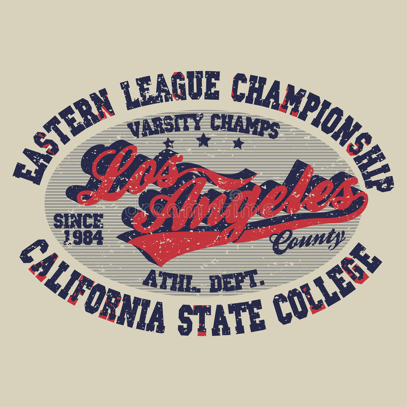 T-shirt Los Angeles print. Sport t-shirt Los Angeles print, vintage style typography emblem, college athletics apparel, varsity jersey stamp, California fashion vector illustration