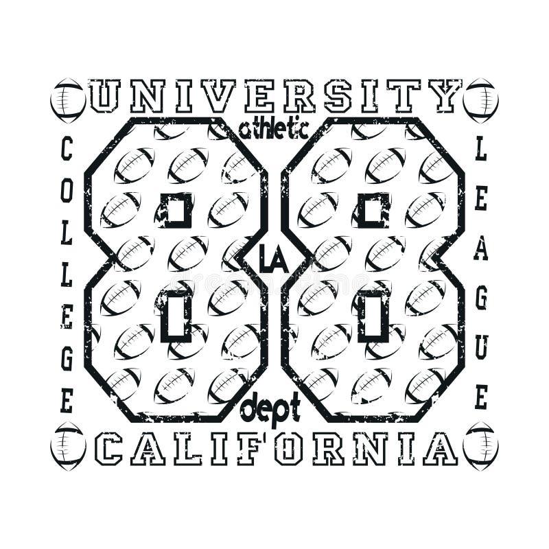 T-shirt Los Angeles, tipografia do atletics, forma CA, desi do esporte ilustração royalty free