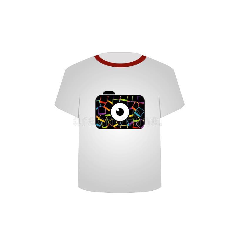 T-shirt malplaatje-Digitale camera stock illustratie