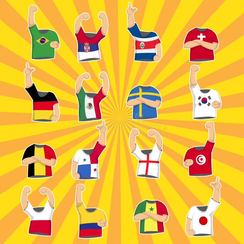 T_shirt for many country on bright colour background,soccer 2018. Country vector illustration