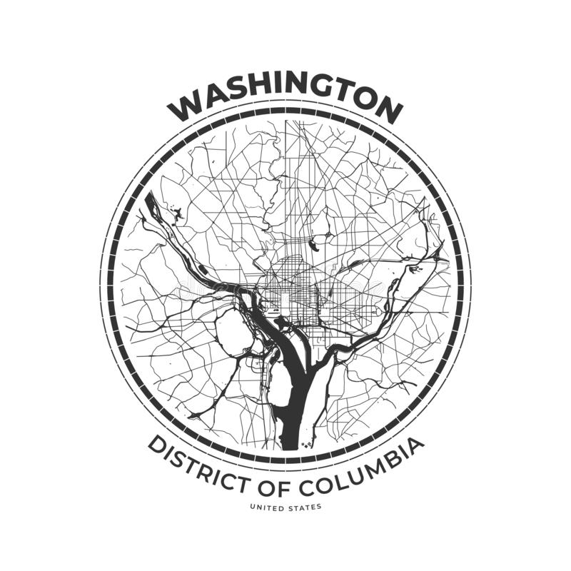T-shirt map badge of Washington, District of Columbia royalty free illustration