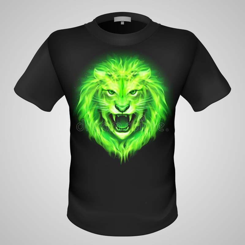 T-shirt masculin avec la copie de lion. illustration stock
